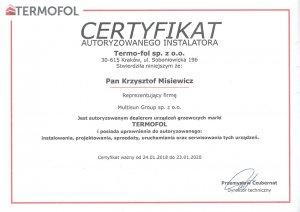 Certyfikat autoryzowanego instalatora