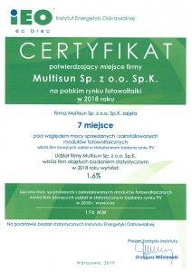 Certyfikat Multisun na polskim rynku fotowoltaiki w 2018 roku