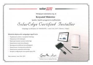 Certyfikat SolarEdge Certified Installer